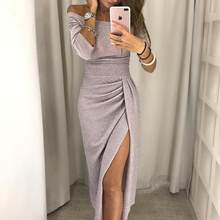 2019 Party Dress 2018 Shiny Off Shoulder Ruched Thigh Slit Dress Sexy Club Wrist Sleeve Women Dress(China)