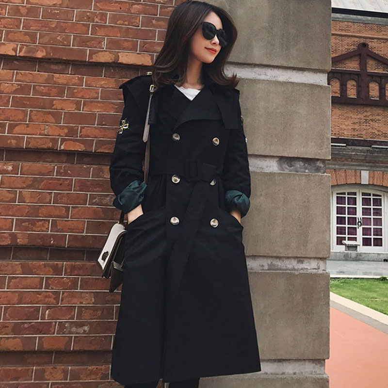 2020 New Spring Womens Fashion Casual Long Trench Coat Women Embroidery Khaki Windbreaker Female Outerwear With Belt FY01