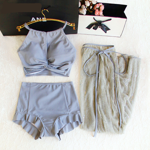 Женский купальник-тройка STAERK, Сексуальные корейские бикини, длинная юбка, комплект с танкини, купальники в стиле ретро, одноцветные купальн...