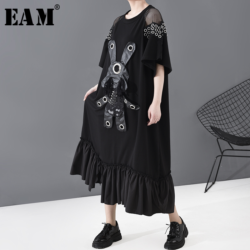 [EAM] Women Black Pattern Pleated Hem Big Size Dress New Round Neck Long Sleeve Loose Fit Fashion Tide Spring Summer 2020 1T960