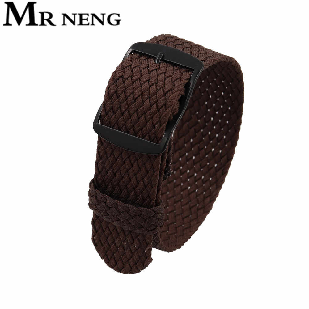 2020 חדש רך לנשימה ניילון פוליאסטר רצועת שעון ספורט צמיד Strap18MMm עבור Perlon שחור אבזם רצועת השעון 22 20mm