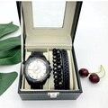 Мужские модные повседневные кварцевые часы  кожаный плетеный браслет  Подарочная коробка бойфренда  подарок на день рождения  Рождество  на...