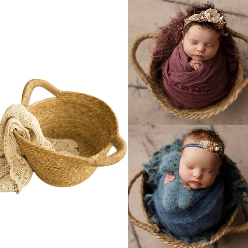 Newborn Photo Shooting Basket Children Baby Full Moon Photography Woven Baskets U50F