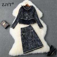High Quality Fall Winter Designers Runway Skirt 2piece Set Women Fashion Vintage Tassel Pearls Tweed Jacket Coat+Skirt Suit Sets