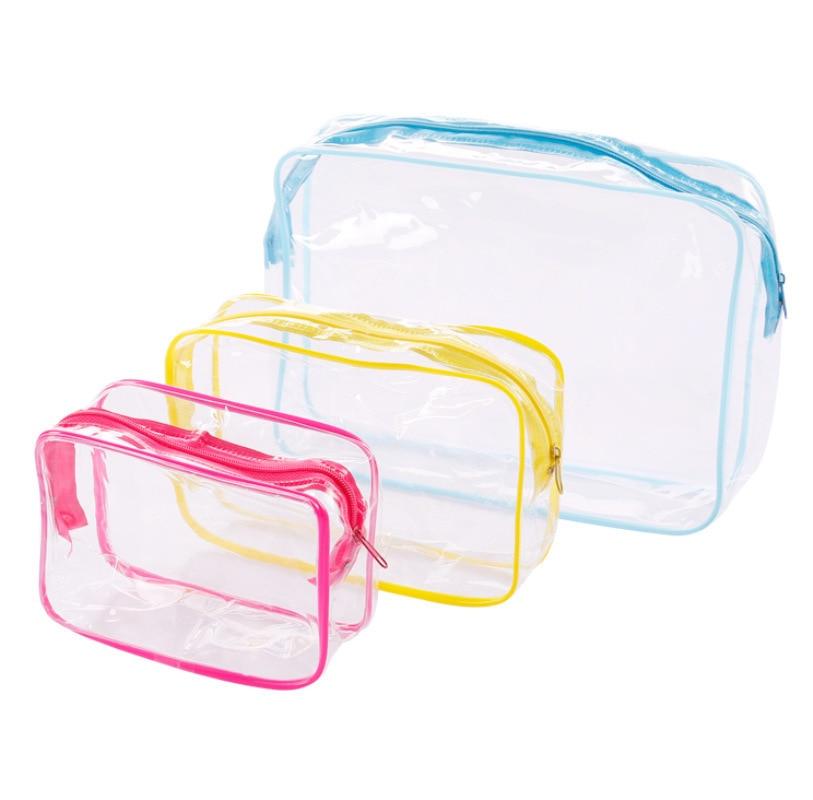 New Arrival Travel PVC Cosmetic Bags Women Transparent Clear Zipper Makeup Bags Organizer Bath Wash Make Up Tote Handbags Case