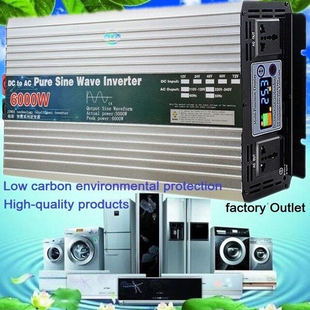 Zuivere Sinus Omvormer 12V/24V/48V/60V Naar 110V 220V 4000W 5000W 6000W Transformator Converter Pure Sinus Solar