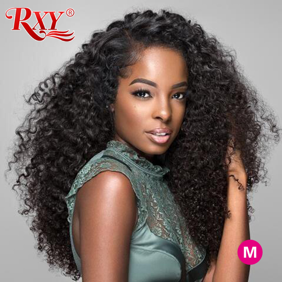 RXY Lace Front Human Hair Wigs Kinky Curly  360 Lace Frontal Wig 13x6 Lace Front Wig Brazilian Remy Human  Wigs For Women Black