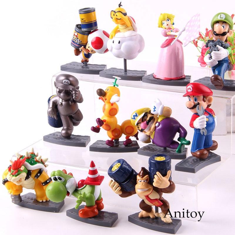 11pcs/set  Mario Brothers Mario Luigi Peach Toad Yoshi Bowser Wario Donkey Kong mario bros Action Figure PVC Model Toys 1