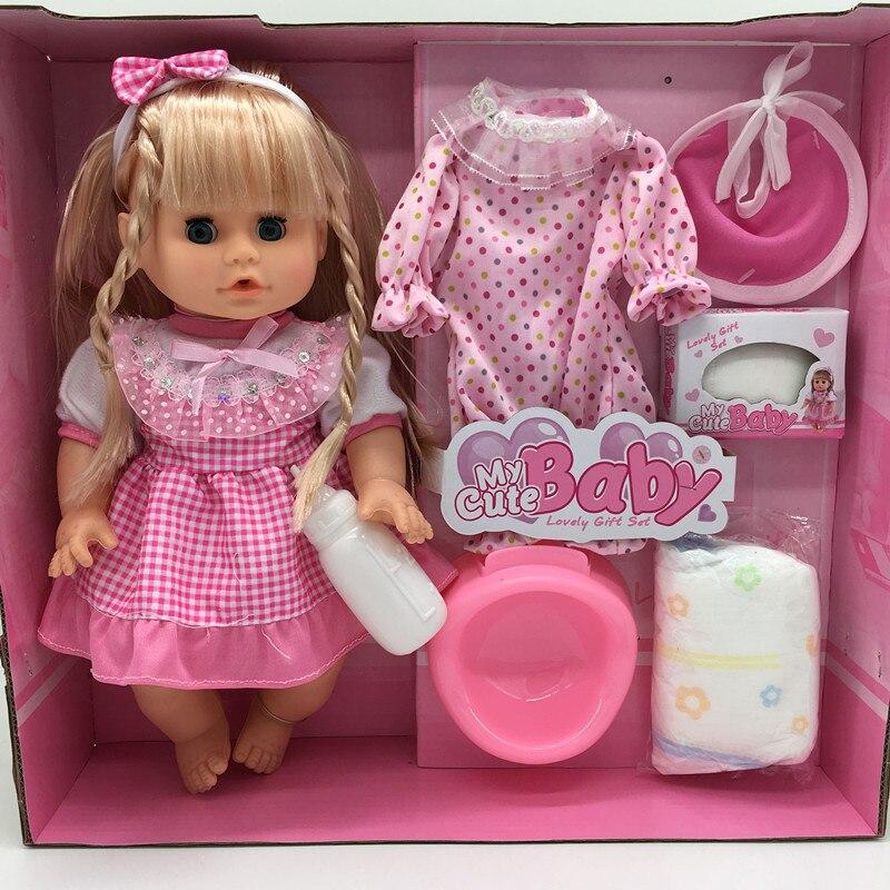 32 centímetros Piscando Alimentação Beber xixi água e falar da menina falando boneca modelo boneca recém-nascidos bebes Renascer Baby Dolls menina presente