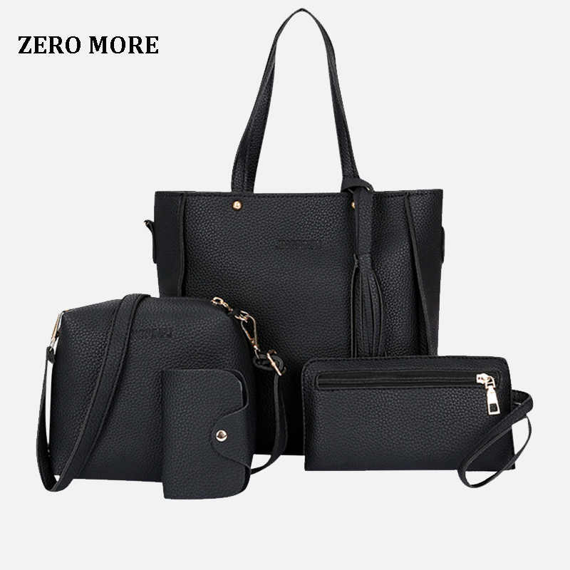 ZERO MORE 4pcs Woman Bag Set Fashion Female Purse and Handbag Four-Piece Shoulder Bag Tote Messenger Purse Bag Drop Shipping
