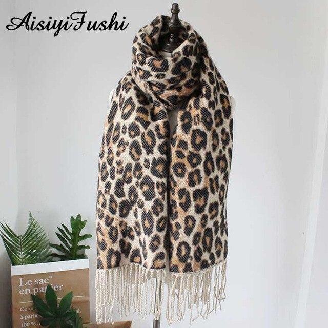 Brown Poncho Leopard Femme Winter Blanket Scarf Warm Soft Cashmere Thicken Long Ladies Tassel Scarves Women 2020 Poncho Foulard 4