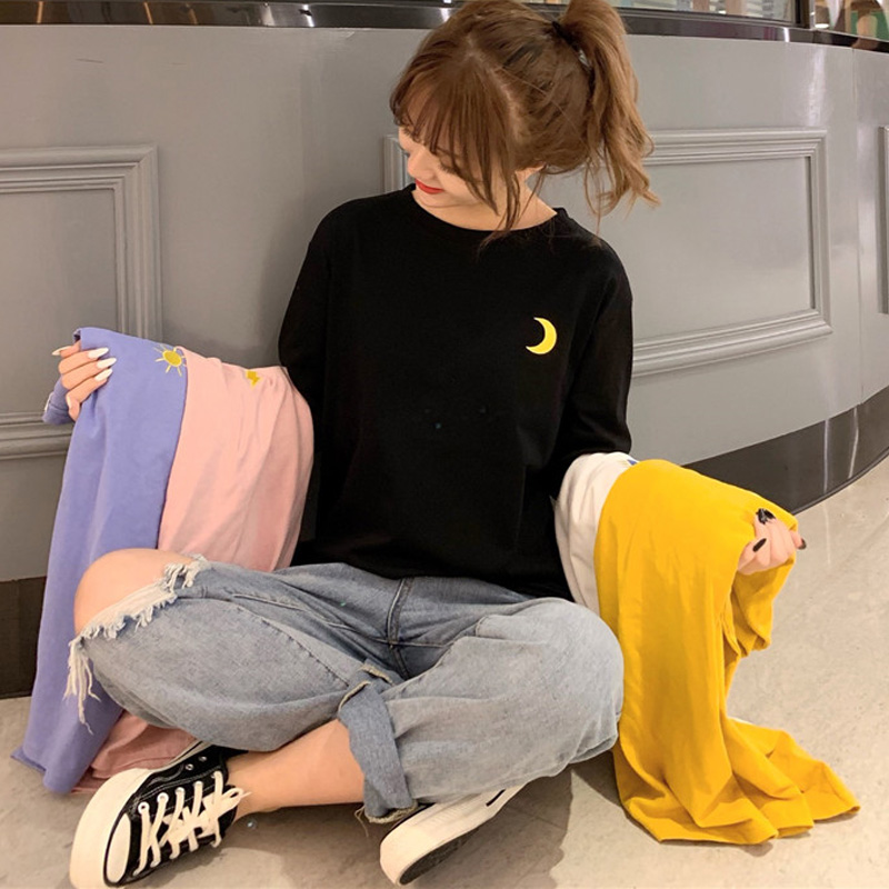 Harajuku Vintage T Shirt Ulzzang Girlfriends Weather Embroidery T-Shirts Autumn Women Casual Loose Long Sleeve Black Tops Femme