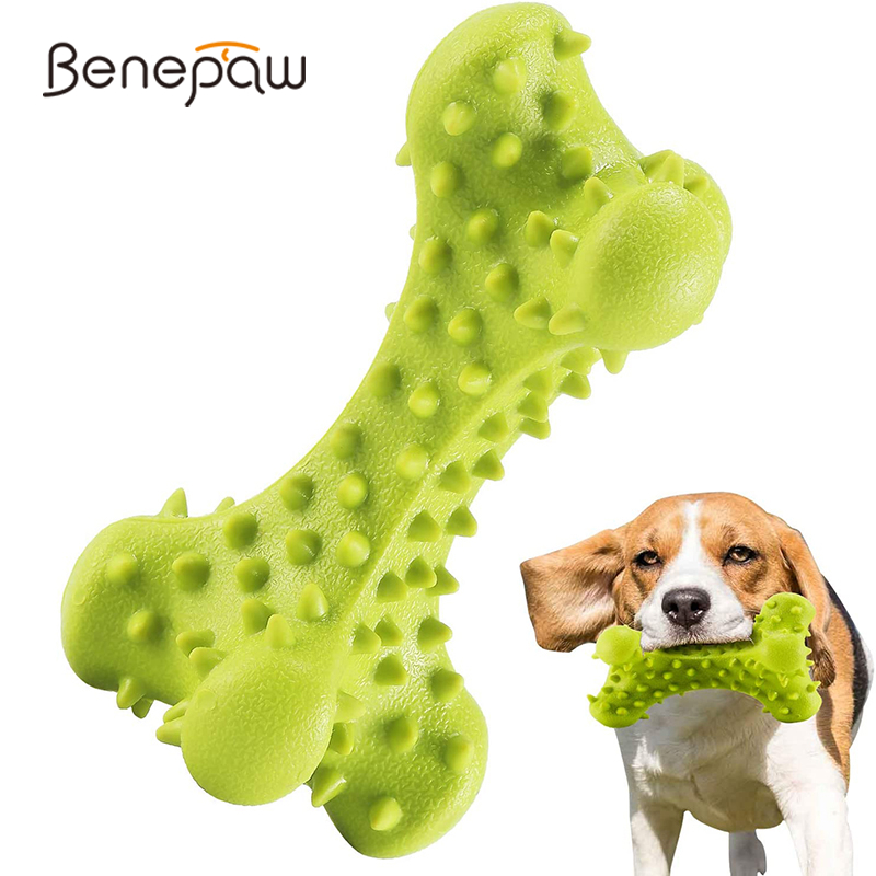 Benepaw Durable Small Large Dog Chew Toy Safe Non-Toxic Rubber Pet Puppy Bone Play Game Improves Dental Hygiene Reduces <font><b>Boredom</b></font> image