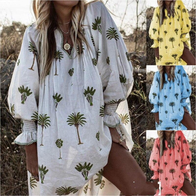 Women Long Sleeve V-neck Boho Printed Casual Style Casual Lady Fashion Maxi Midi Long Dress