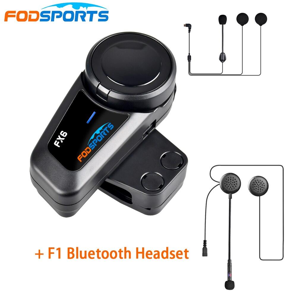 1pc Fodsports FX6 motorcycle intercom 6 riders 800m wireless bluetooth moto helmet headset FM radio +F1 headset for passengers|Helmet Headsets| |  - title=