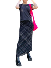 Female Casual Long Skirt,Women Black Plaid Printed Pattern High Waist Close-fitting Clother for Ladies, S/ M/ L