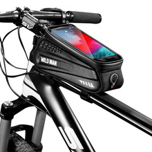 WILD MAN Bicycle Bag Rainproof Waterproof MTB Front Mobile Phone Case Mountain TUP Touch Screen Cycling Top Tube