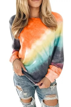 2020 Spring Autumn Print T Shirts Women O Collar Long Sleeve Casual T-shirt Plus Size Female Office Tops Women Pullovers - Orange, S