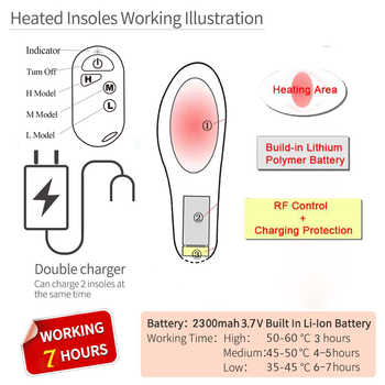 2300mAh Heated Insoles Shoe Boot Foot Warmer with Remote Control Size EUR 35-46# Velvet Fabric Thermal Heating Insole for Spring