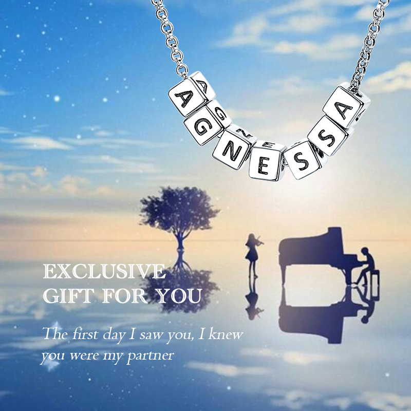 StrollGirl 925 Sterling Silver Personalized Jewelry Custom Square Necklace Engrave Letter Pendant Chain For Women Party Jewelry