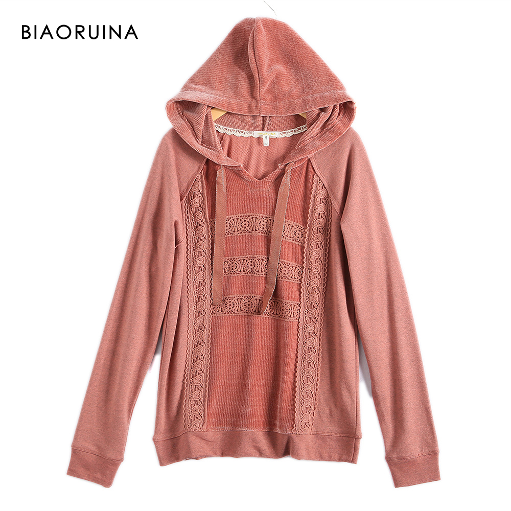 BIAORUINA Women's Terry Floral Lace Patchwork Sweet Hoodies Female All-match Casual Hooded Sweatshirt New Arrival