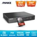 ANNKE 8CH 5MP Lite 5in1 AHD DVR Поддержка CVBS TVI AHD аналоговые ip-камеры HD P2P Cloud H.265 + VGA видеомагнитофон
