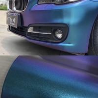 50x200/300/500CM Chameleon Vinyl Wrap Matte Metallic Vehicle Film Purple to Blue Stretchable Air Release DIY Decals