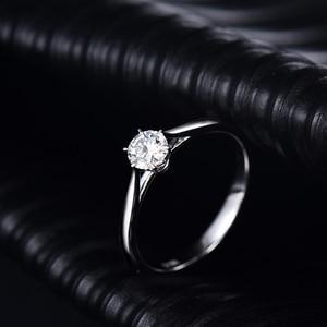 Image 3 - LOVERJEWELRY 14Kt مويسانيتي خواتم النساء الجولة قص الطبيعية مويسانيتي مختبر نمت الماس في الذهب الأبيض للإناث المشاركة هدية