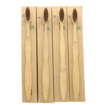 100 Pieces Brown 100% Bamboo Toothbrush Wood toothbrush Novelty Bamboo soft-bristle Capitellum Bamboo Fibre Wooden Handle фото