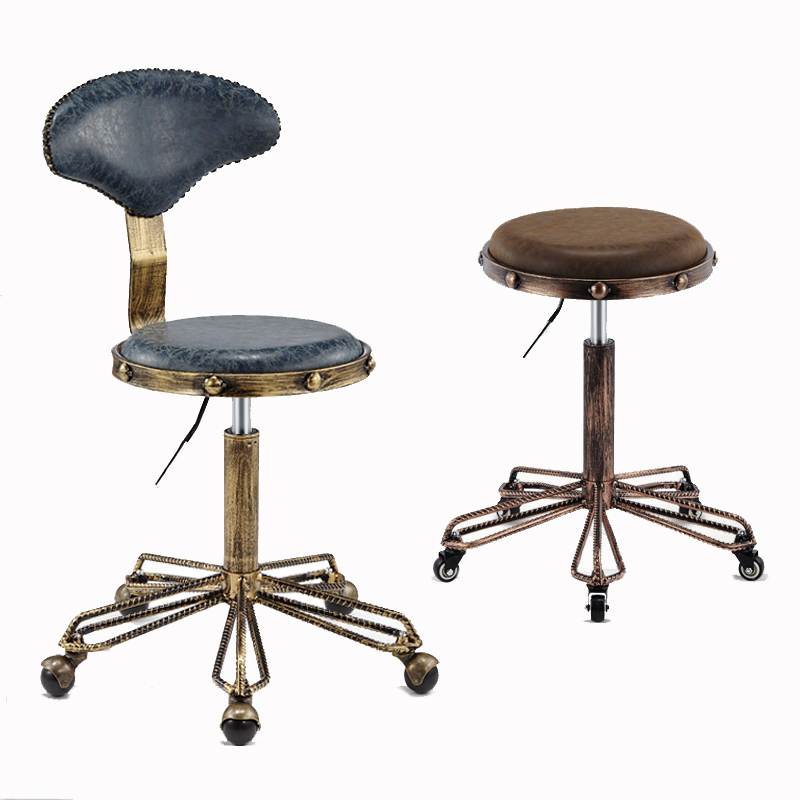 Cheap Height Adjustable Nail Embroidery Chairs With High Elastic Sponge Retro Bronze Barber Chair Rotate Lift Beauty Stools