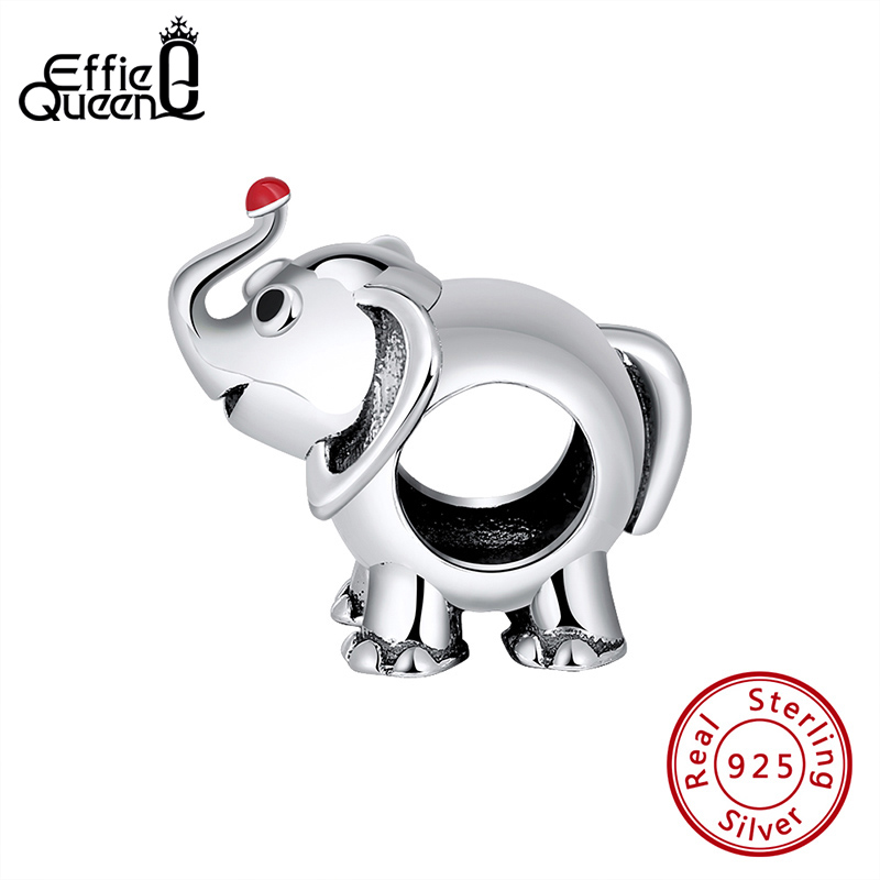 Effie Queen 100% 925 Sterling Silver Lucky Elephant Charm Beads Fit DIY Bracelet Making Jewelry Gift CB03(China)