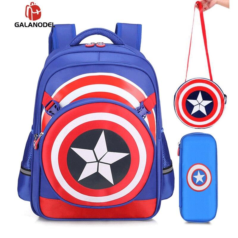 3D Cartoon Captain America Children School Bag Boy's Backpack Fashion School Bags Students Backpack Waterproof Child Gift