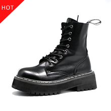 Busy Girl Flat women boots Platform Boots Women Shoes Autumn Winter white ankle boots Ladies Shoes white botas