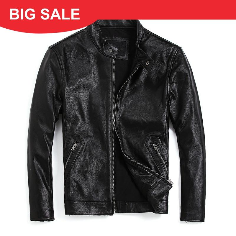 2020 Black Men Slim Fit Motorcycle Leather Jacket Stand Collar Plus Size XXXXL Genuine Cowhide Spring Biker's Leather Coat