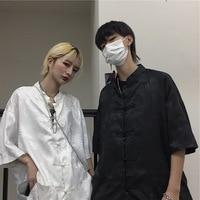 Shirt Women's Korean style INS Harajuku Style Dark of Sense of Design Non mainstream Retro Dark Stripes Loose Casual Frog Tops