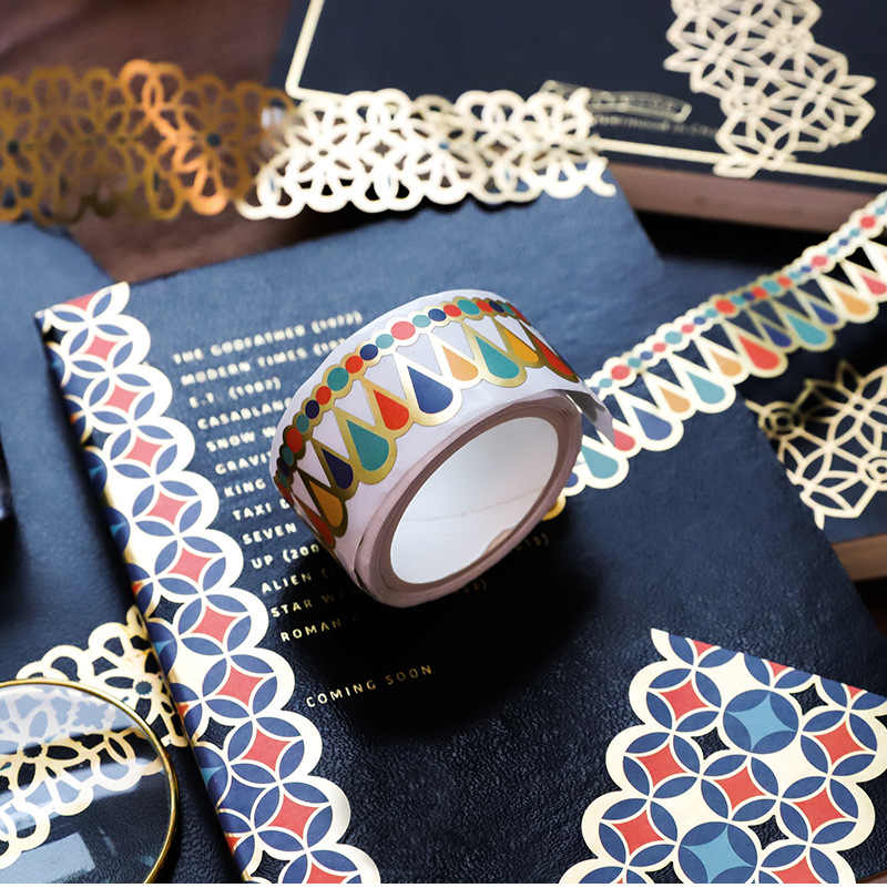 Retro złoty Hollow serii koronki Washi taśma maskująca papier zwalniający naklejki Scrapbooking etykiety artykuły papiernicze taśma dekoracyjna