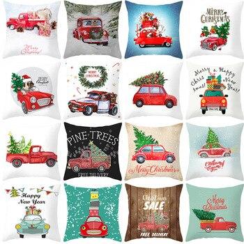 Christmas Car Print Peach Skin Throw Pillowcase Cartoon Tree Pattern Sofa Farmhouse Home Decoration Cushion Cover cartoon comestics print cushion cover