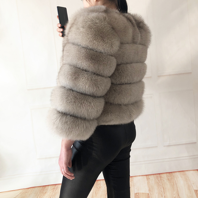 2019 new style real fur coat 100% natural fur jacket female winter warm leather fox fur coat high quality fur vest Free shipping 80