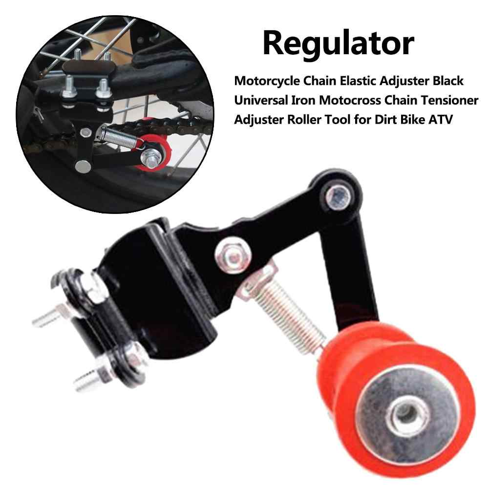 Black Motorcycle Chain Tensioner Portable Aluminum Adjuster Automatic Regulator Bolt On Roller Tool Universal for Motocross Dirt Bike ATV