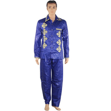 Dashiki African Men Tops Bazin Long-Pants Two-Pieces MD for Suit Shirt with Trouser-Set