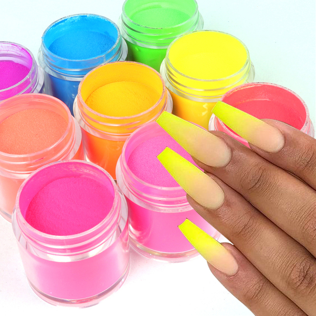 5g Acrylic Powder Neon Pigment Crystal Powders Poly Gel For Nail Polish Nail Art Decorations Professional Nail Accessory RIKONKA