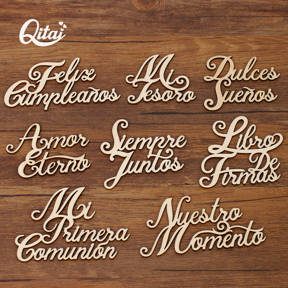 QITAI 8PCS/BOX 8 Model Laser Cut Wooden Spanish Words Love Gift Baby New Born Unpainted Wooden Words Set Decoration Album  WF324