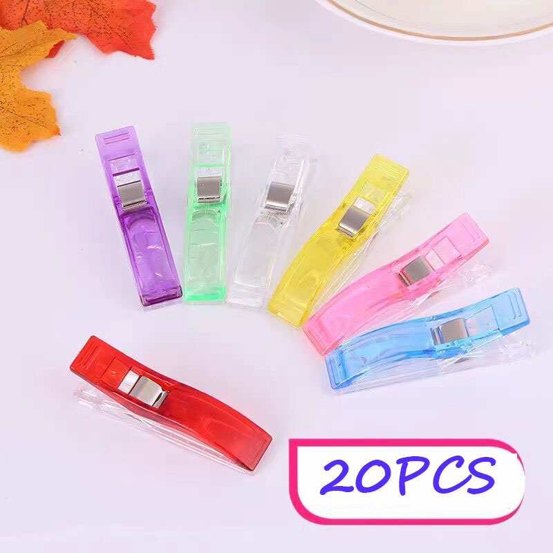 20PCS Big Size Clips Multicolor  Baling Fixed Axe Clips Positioning Plastic Sewing Clip Needlework Quilting Accessories Knitting