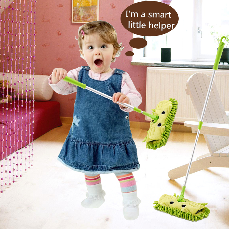 Baby Mini Simulation Cleaning Toys Set Child Mop Broom & Dustpan Set Sweeping House Telescopic Tablet Drag Pretend Play Toys
