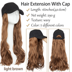Image 3 - BENEHAIR Baseball Cap With Hair Long Wavy Fake Hair Hat Wig Synthetic Hair Extensions Hat With Hair Natural Hairpiece For Women