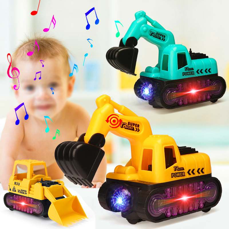 LED Music Flash Color Change Electric Excavator Toy Car Truck Series Engineering Truck Bulldozer Tractor For Kids Gift