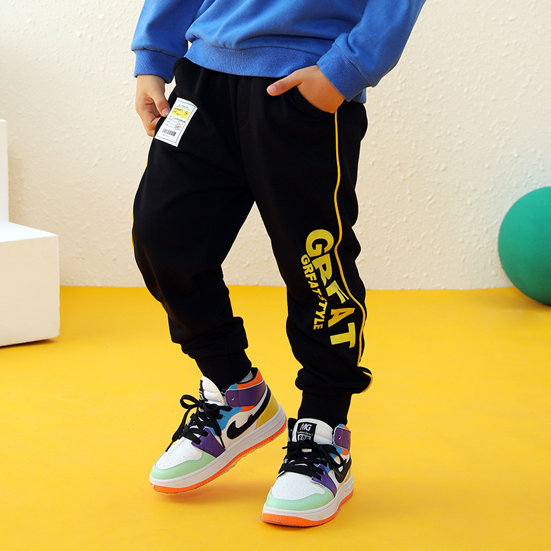 New Kids Boys Girls Pants Sports For 3-10 Yeas Fashion Print Letter Casual Sport Cotton Children Trousers Running Autumn Winter 3