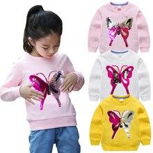 Свитшоты для маленьких девочек; цветные детские толстовки с бабочкой; сезон зима-весна-осень; свитер с длинными рукавами; детская футболка; одежда