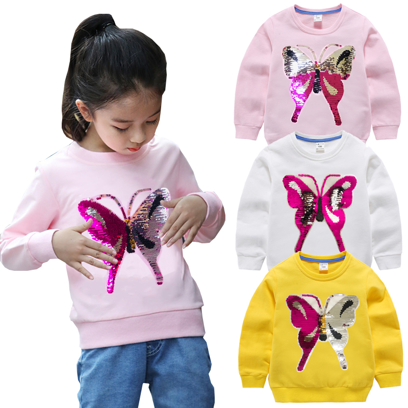 Baby Girls Sweatshirts Color Change Butterfly Winter Spring Autumn Children Hoodies Long Sleeves Sweater Kids T-shirt Clothes