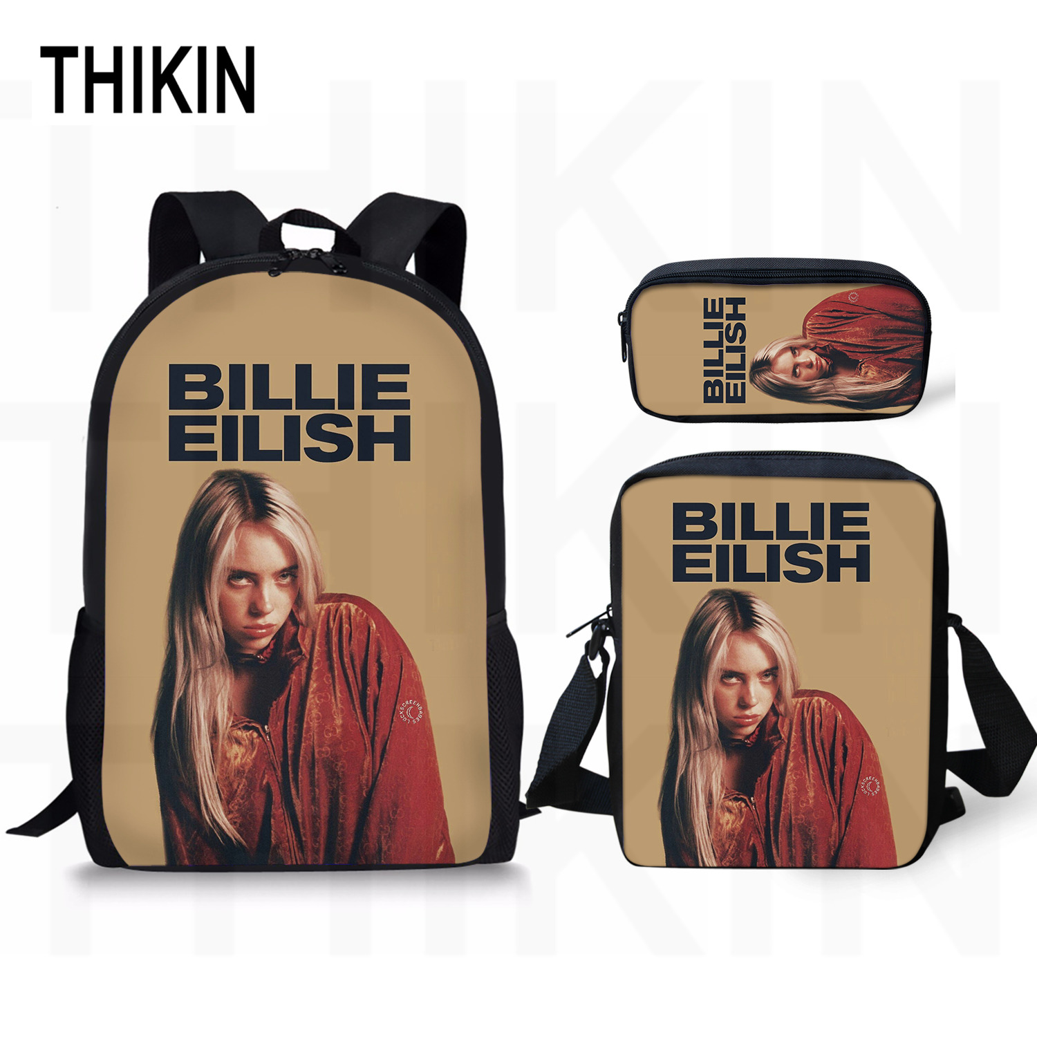 THIKIN Billie Eilish Print School Baags For Teenagers Cool Girls Fashion 3 PCS/SET Kids Girls School Backpacks Casual Mochila